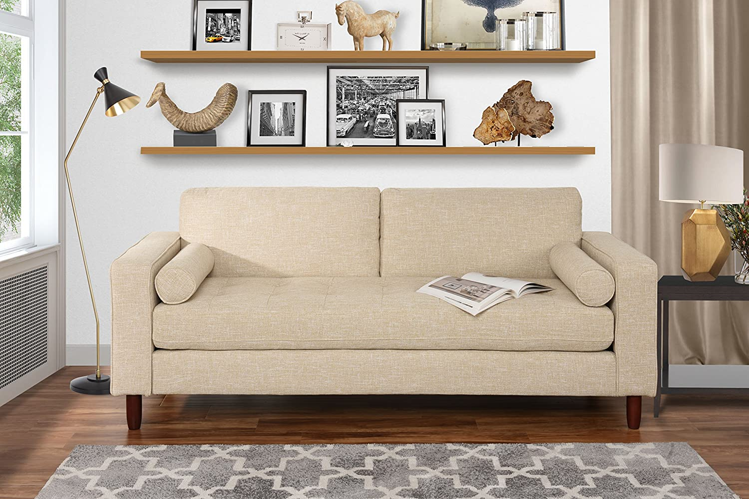 Amazon com modern fabric sofa with tufted linen fabric living room couch beige kitchen dining