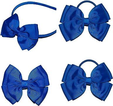 Grey Hair Bow Bobbles Hairband Clip Grey School Uniform Elastic Band Fabric