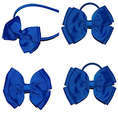 Royal Blue School Hair Bow Set  72b72b9ef95