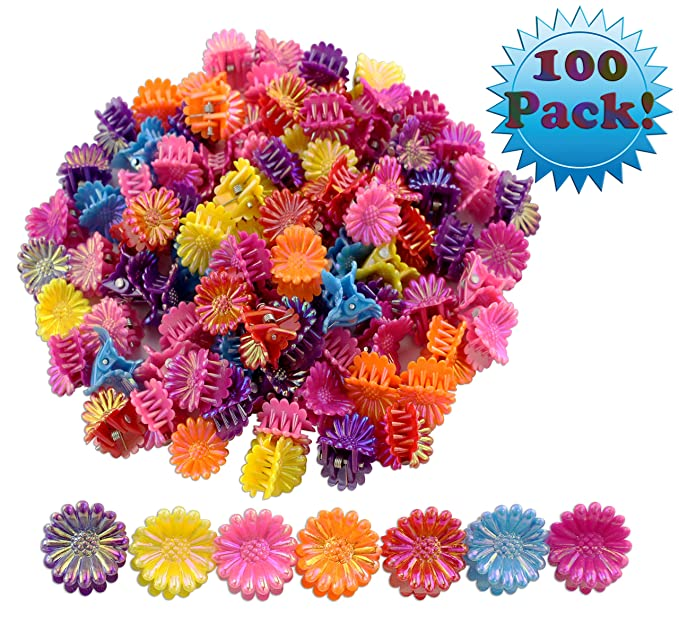 100-Pack Mini Flower Hair Clips; Tiny Plastic Claw Barrettes Bulk Value Pack, Multi-Colored (100 Pieces)