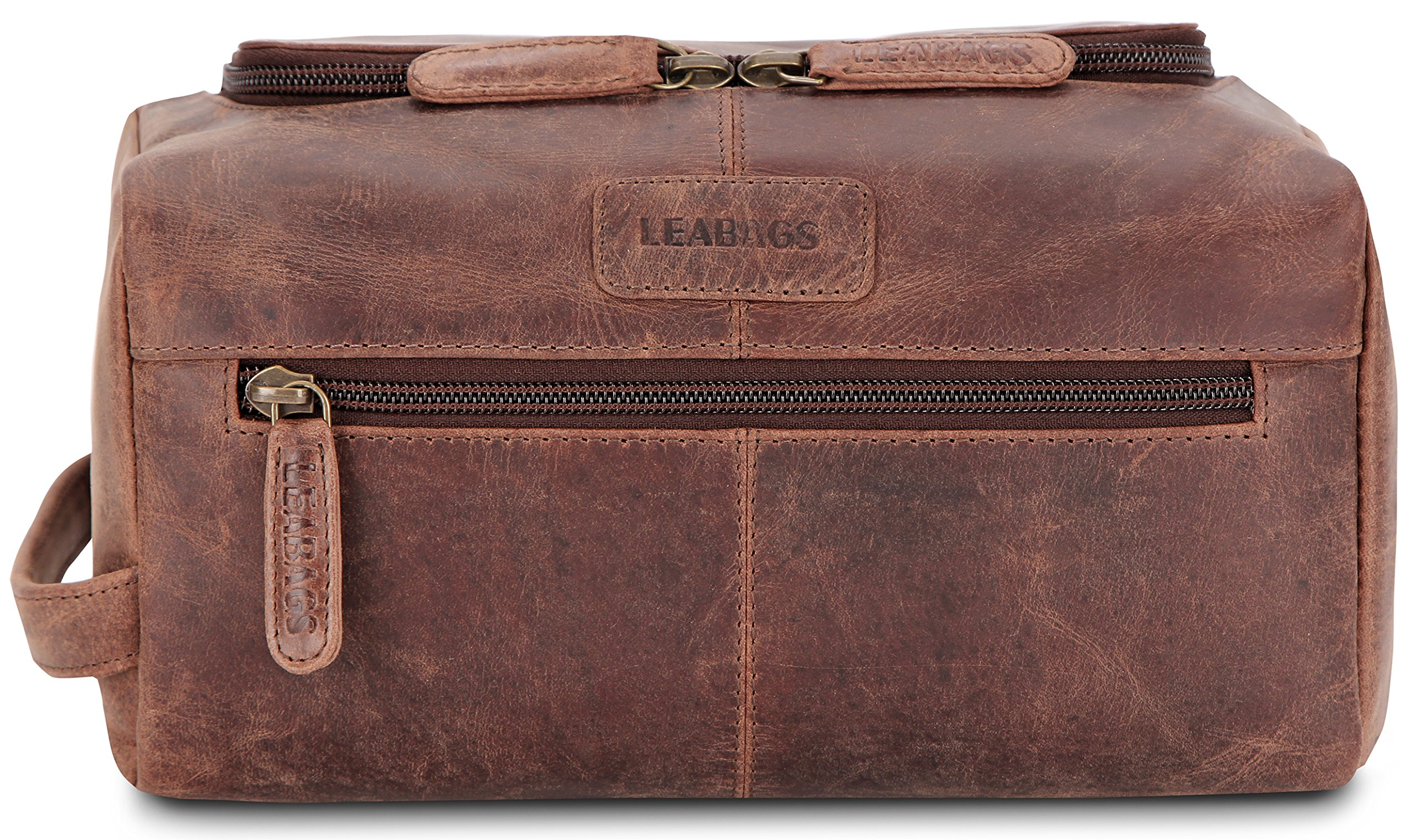 LEABAGS Palm Beach genuine buffalo leather toiletry bag in vintage style - Nutmeg by LEABAGS (Image #1)