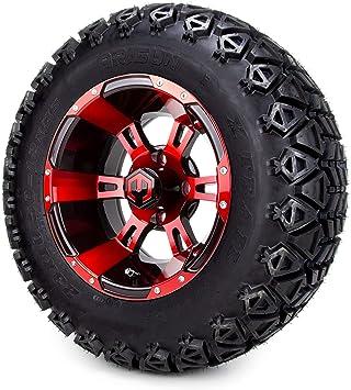 Amazon Com 12 Modz Ambush Red Black Golf Cart Wheels And All Terrain Tires Combo Set Of 4 Automotive