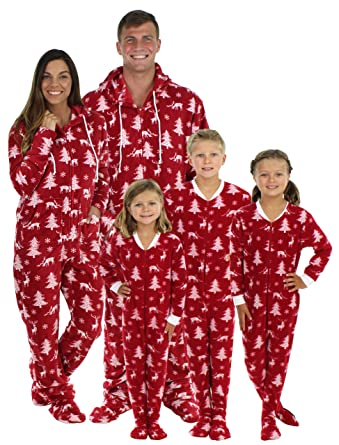 5e24fa3fe9 Amazon.com  SleepytimePjs Family Matching Cranberry Deer Onesie PJs Footed  Pajamas  Clothing