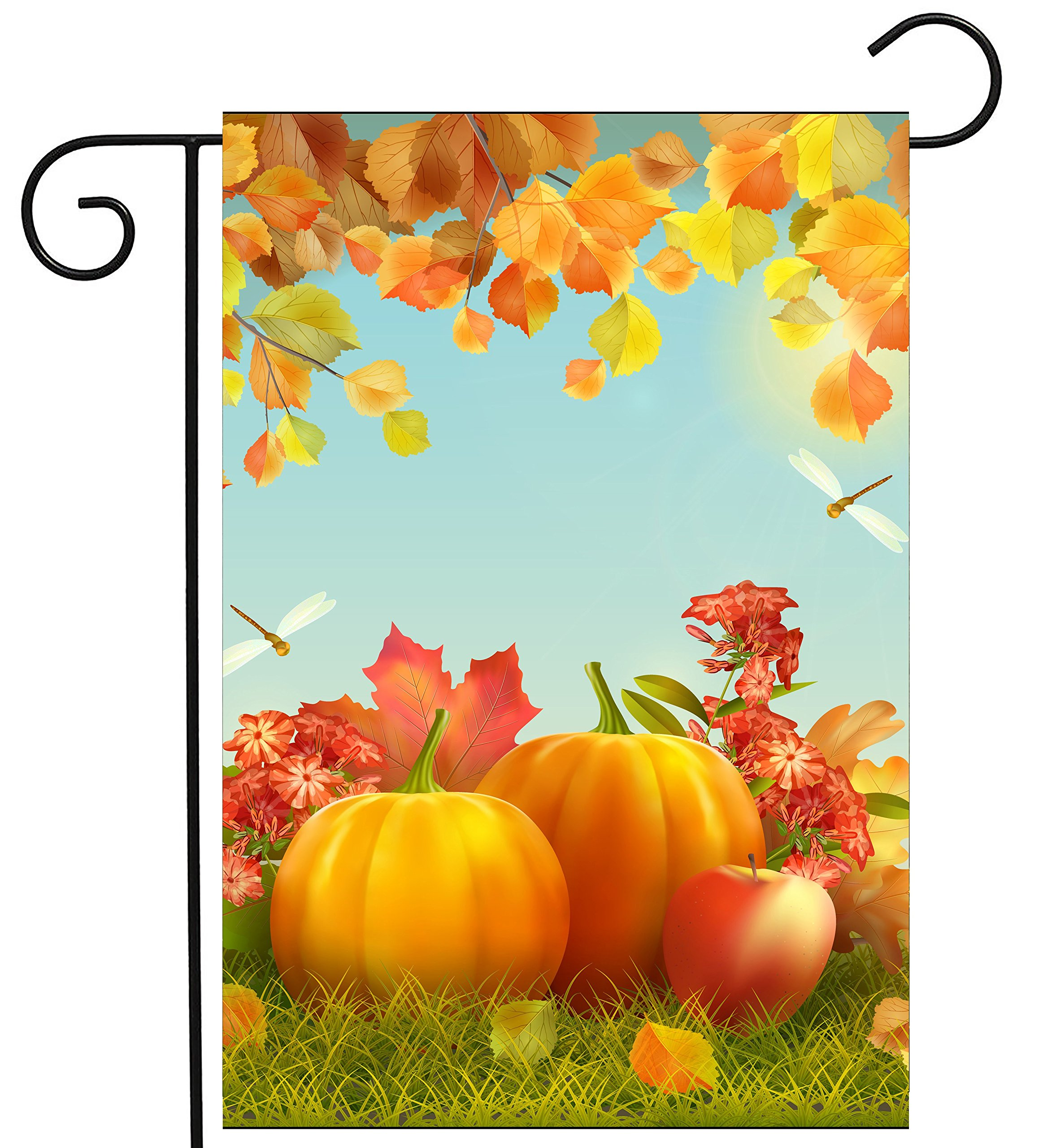 ShineSnow Harvest Autumn Pumpkin Apple Dragonfly Garden Yard Flag 12''x 18'' Double Sided, Polyester Thanksgiving Festival Fall Leaves Welcome House Flag Banners for Patio Lawn Outdoor Home Decor