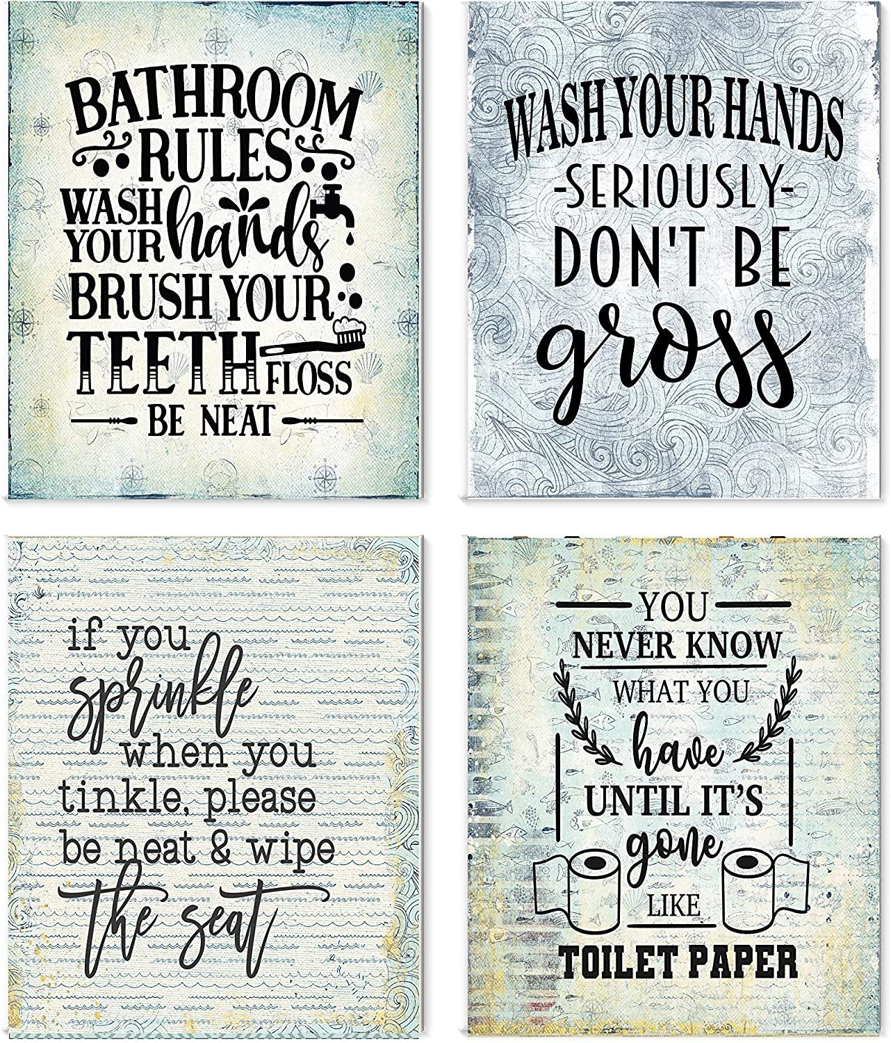Amazon Com Set Of 4 Unframed Funny Bathroom Art Prints Nautical Beach Posters Prints