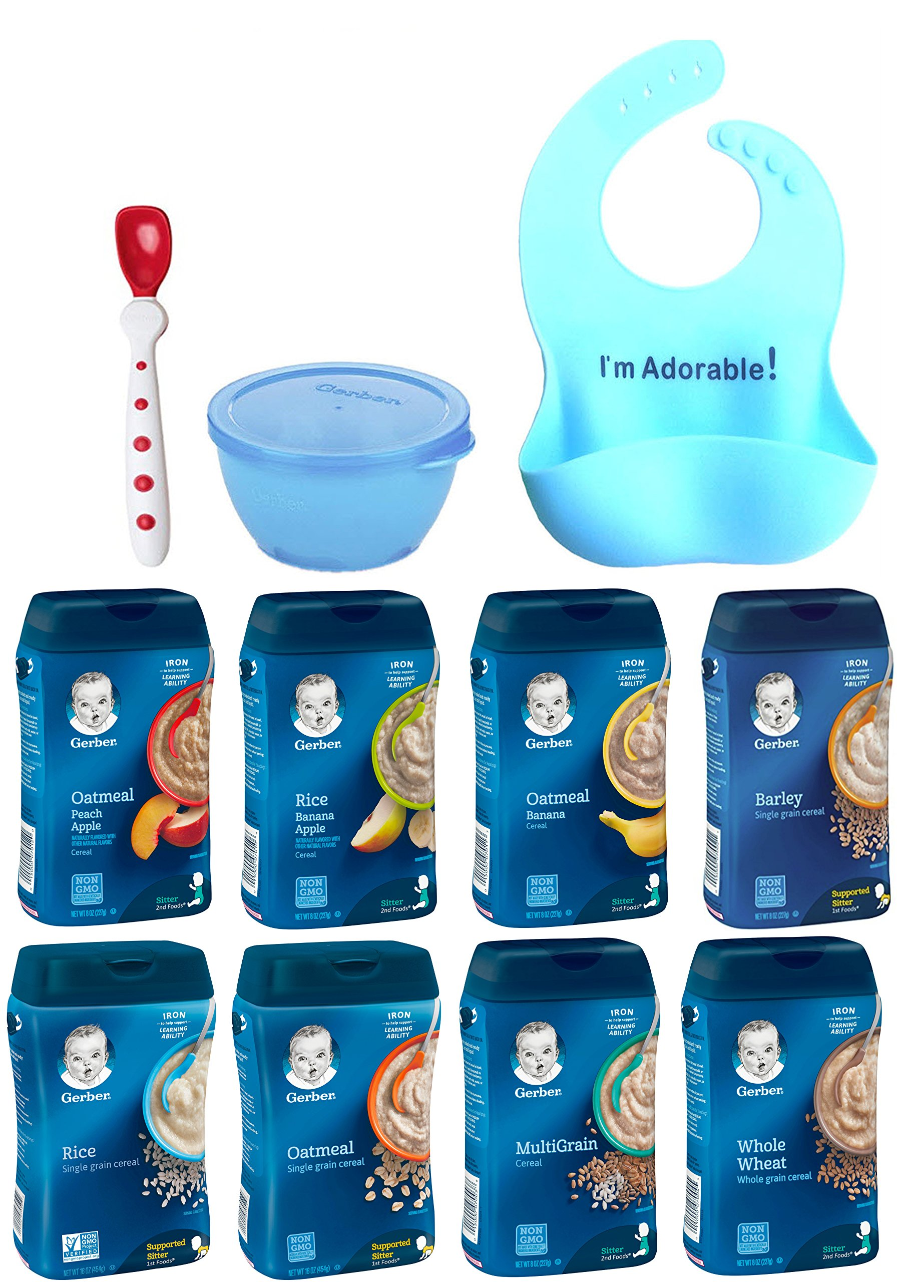 Gerber Baby Cereal Ultimate Variety Pack of 8 Cereals Rice Oatmeal Whole Wheat MultiGrain Apple Peach Banana Barley. Baby Food Bundle of 8 with Silicone Bib Spoon Bowl by Narrow Path Sales