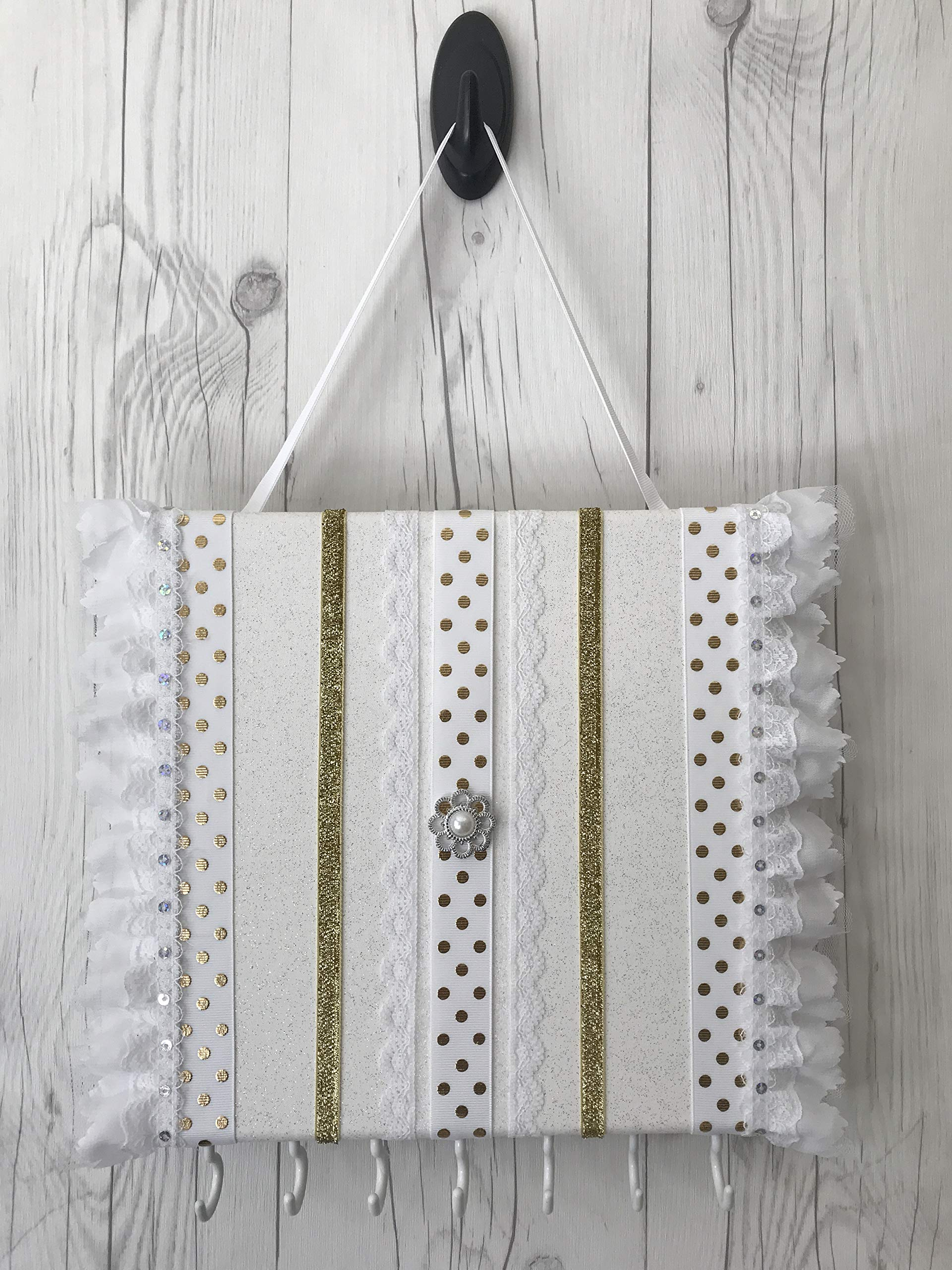 Bead&Cord 10''x10'' Canvas Hair Bow and Baby Elastic Headband Organizer (White & Lace Gift Set) by Bead&Cord (Image #2)