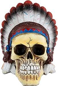 Caveira Resina American Indian Colorida 12, 5 X 15, 5 X 13 Cm Urban Multicor