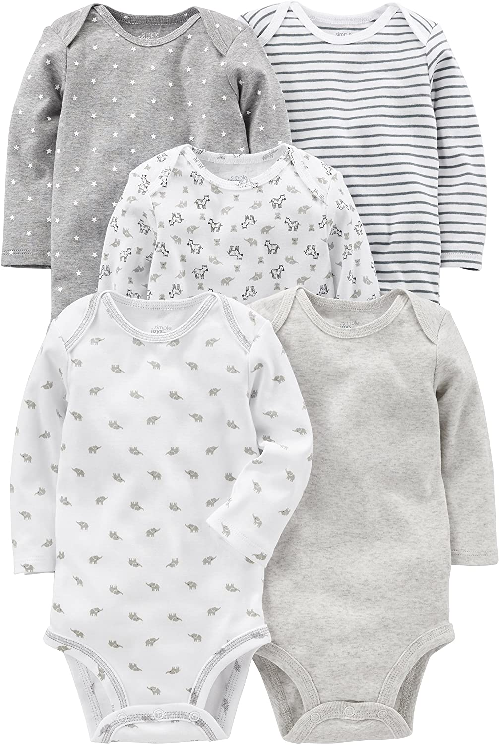 Pacco da 5 Simple Joys by Carters 5-Pack Neutral Long-Sleeve Bodysuit Bimbo 0-24