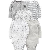 Simple Joys by Carter's 5-Pack Long-Sleeve Bodysuit Unisex bebé, Pack de 5