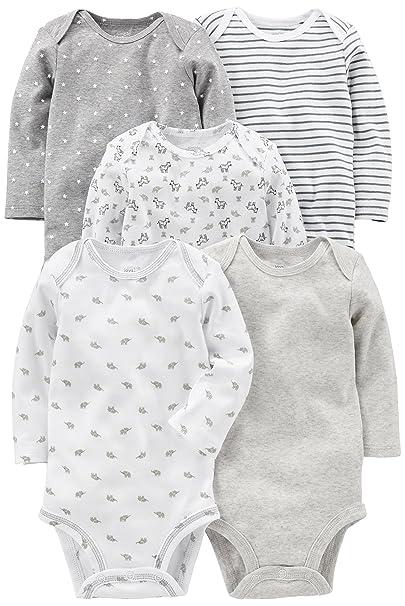 c08ab4e53 Simple Joys by Carter's Baby 5-Pack Neutral Long-Sleeve Bodysuit, Gray/