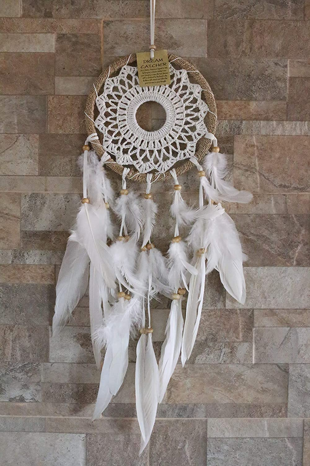 Boho Breeze Dream Catcher Boho Style//Handmade Bohemian Decor Item//Crochet Hippie Gypsy Model//Weddings//Baby Showers//Wall Hanging Decoration//Bedroom or Living Room Ornament//Exquisite Feathers
