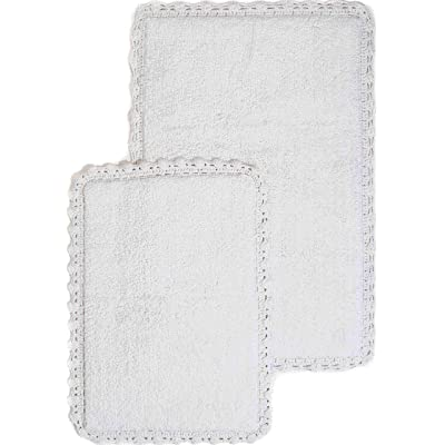 Crochet 2-Piece Bath Rug Set, 21 by 34-Inch and 17 by 24-Inch, White: Home & Kitchen