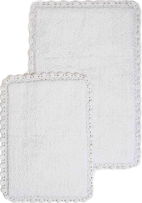 Amazon Com Crochet 2 Piece Bath Rug Set 21 By 34 Inch And 17 By 24 Inch White Home Kitchen
