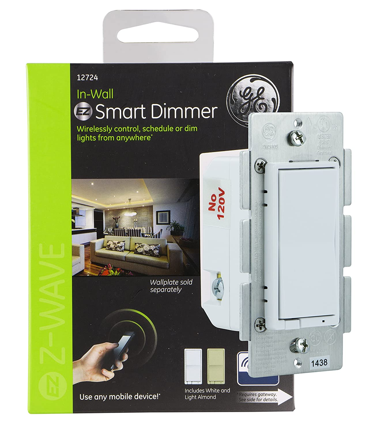 GE Z-Wave Wireless Smart Lighting Control Smart Dimmer, In-Wall, Includes White & Light Almond Paddles, 12724, Works with Alexa