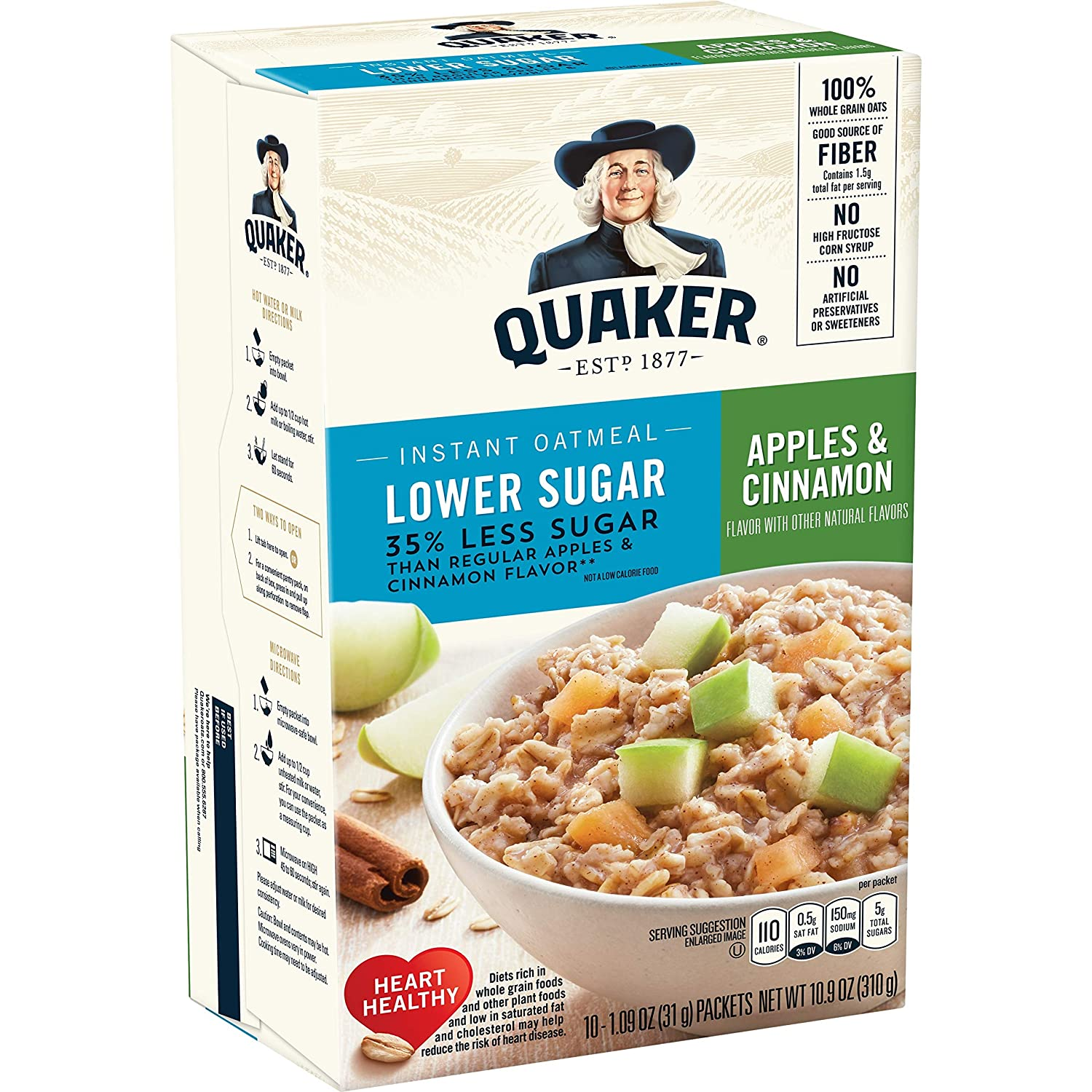 Quaker Instant Oatmeal, Lower Sugar, Apples & Cinnamon, Breakfast Cereal, 1.09 Ounce (Pack of 4)