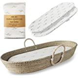 Baby Changing Basket for Nursery Changing Table Set. Baby Moses Basket, Thick Diaper Changing Pad and 3 Soft Bamboo…