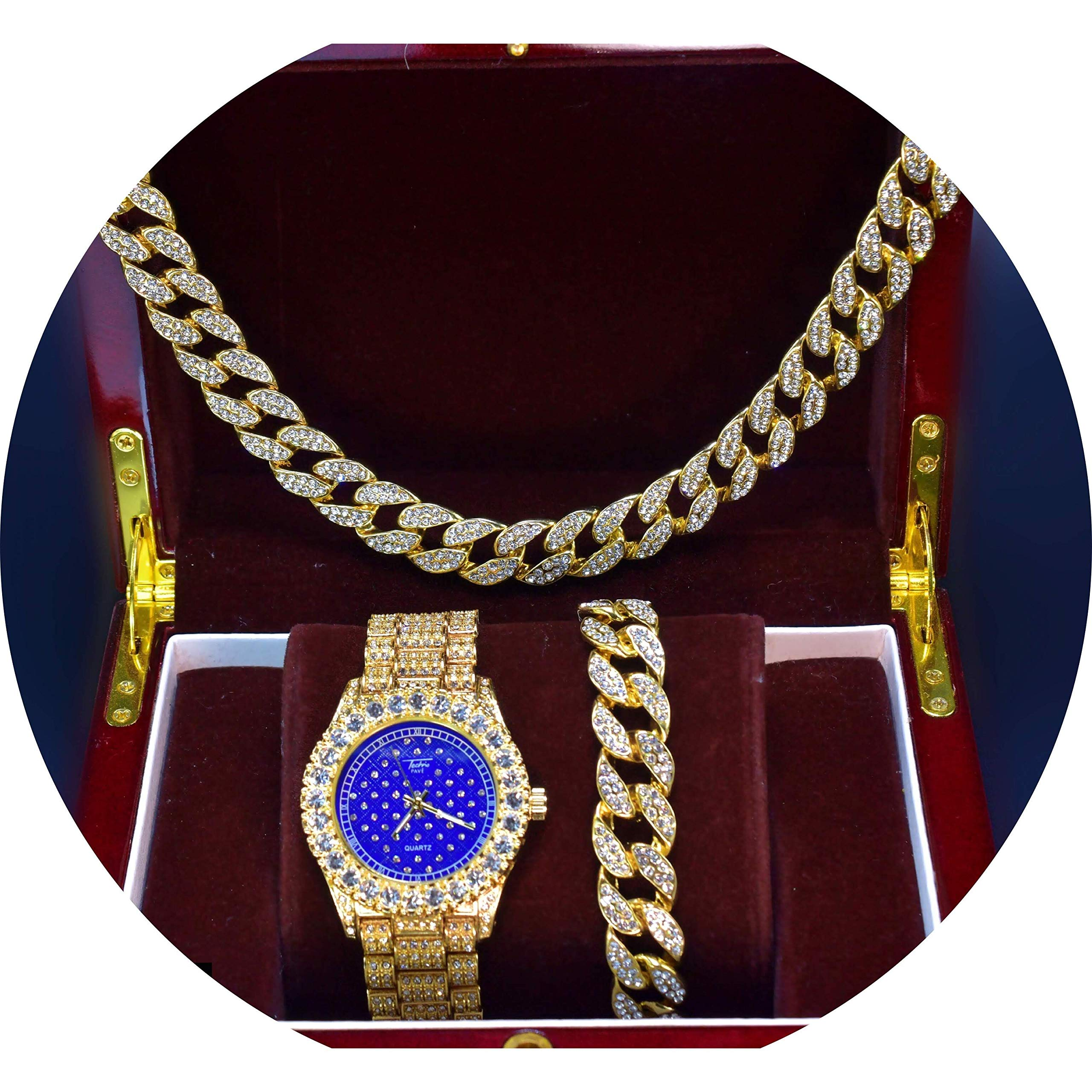 14k Gold Plated Iced Out Blue Bling Face Dial Watch, 24'' Miami Cuban Necklace & Bracelet Set (Set(All of Them))
