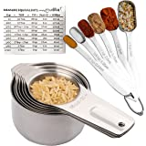 Measuring Cups and Spoons Set Stainless Steel, 13 Piece. 7 Heavy Metal Measuring Cups. 6 Long Handled Nesting Spoons. Dry or Liquid Ingredient. Engraved Metric Measure. Bonus Magnetic Conversion Chart