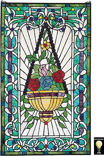 Meyda Tiffany 98451 Tiffany Mica Window from Lancaster Collection in Avocado Ia Green Blue Burgundy Zasdy Finish, 22.00 inches, 22 Width x 10 Height