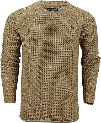 Brave Soul Mens Sweatshirt Round Neck Winter Knitted Jumper Pullover Warm Shirt