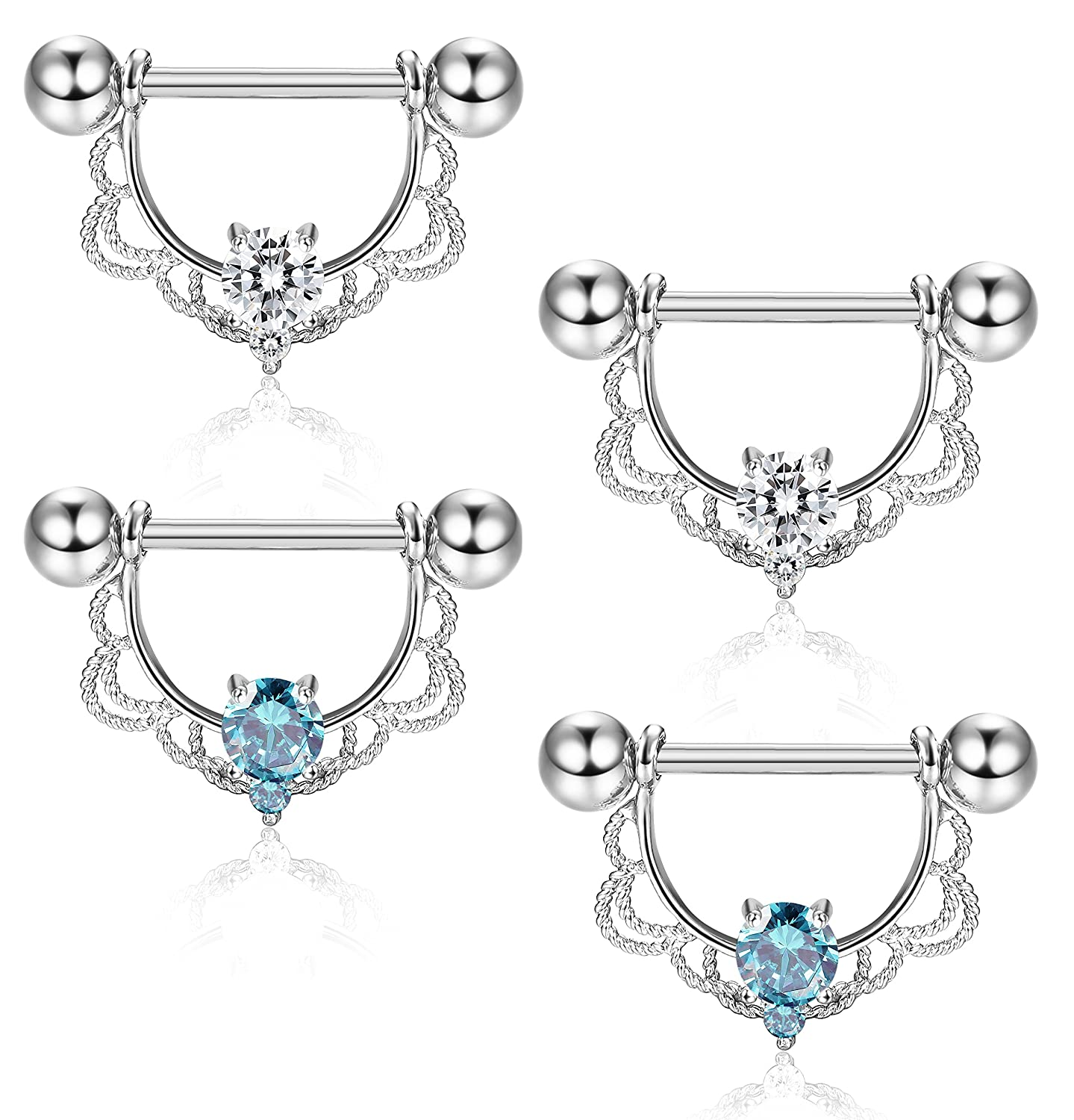 ORAZIO 4Pcs 14G 316L Stainless Steel CZ Opal Nipple Piercing Barbell Belly Button Ring for Women CC06H-WP