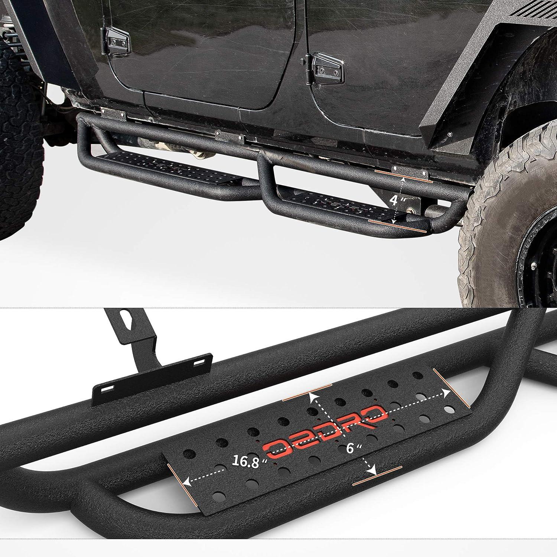 oEdRo All-Steel Build Running Boards Compatible with 2007-2018 Jeep Wrangler JK 4 Door Black Powder Coated Nerf Bar Bolt-on Side Steps with Leaf Shaped Design