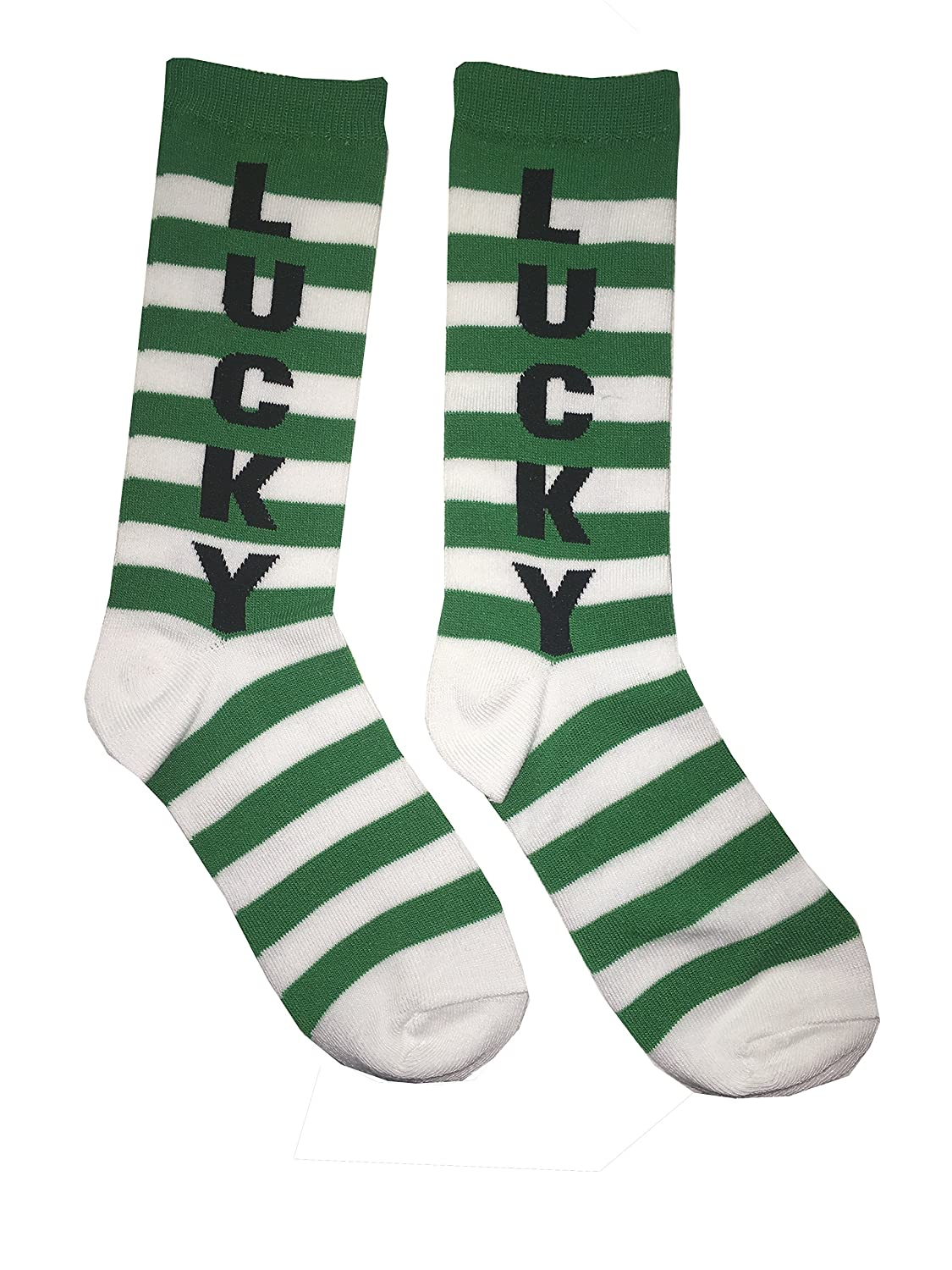 St. Patrick's Day Irish Novelty Knee High OR Crew Socks - for Women or Teens -Variations LUCKY SHAMROCK IRISH HORSESHOE