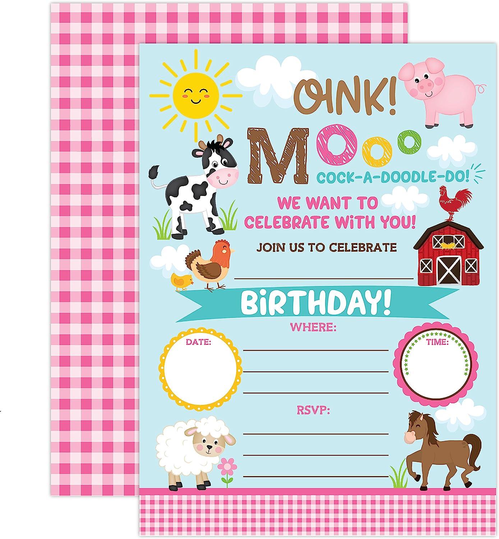 Farm Birthday Invitation, Girl Barnyard Invites Farm Birthday Party, Girls Barnyard Birthday invite, 20 Fill In Pool Party Invitations With Envelopes