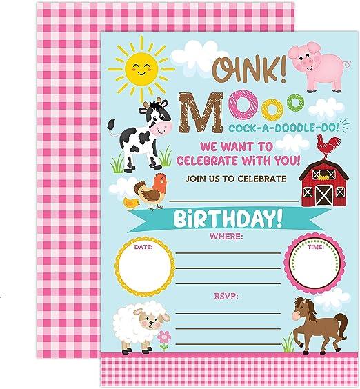 Amazon.com: Yme granja invitación de cumpleaños niña ...