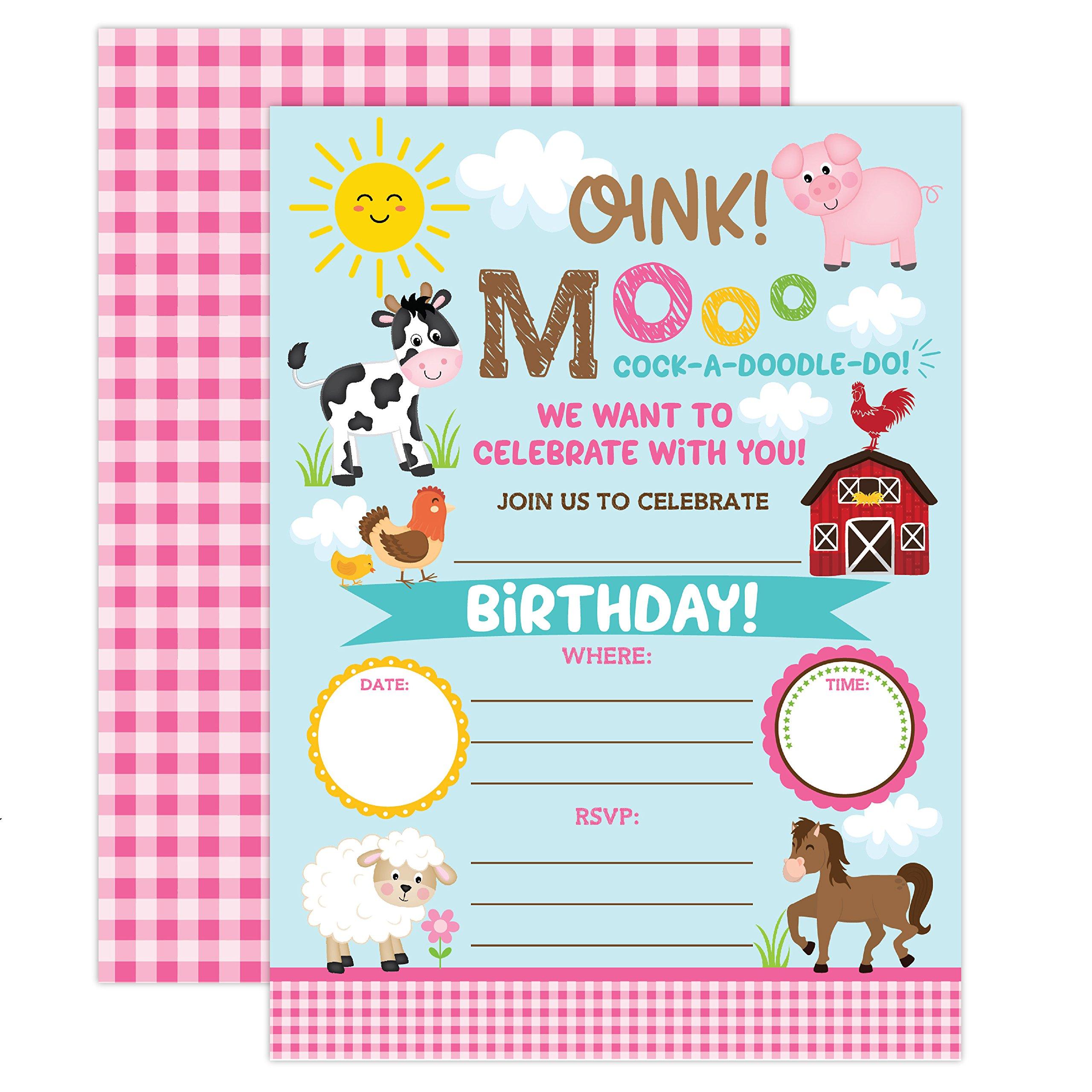YME Farm Birthday Invitation, Girl Barnyard Invites Farm Birthday Party, Girls Barnyard Birthday invite, 20 Fill In Pool Party Invitations With Envelopes