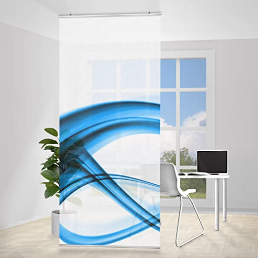 Panel japones element Blue, Tamaño: 250 x 120cm, panel japonés, paneles japoneses, separadores de ambientes, cortina, paneles japoneses cortina, cortinas: Amazon.es: Hogar
