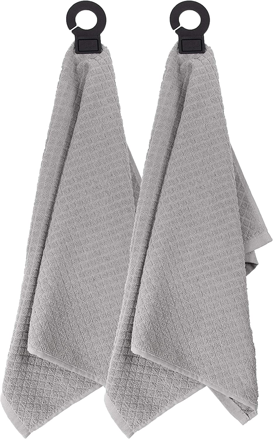"Ritz Hook and Hang Towel with Permanent Rubber Hook for Kitchen, Bathroom, Mudroom, Laundry Room, Extra-Large, 18"" X 28"", Machine Washable, 2 Pack, Titanium"