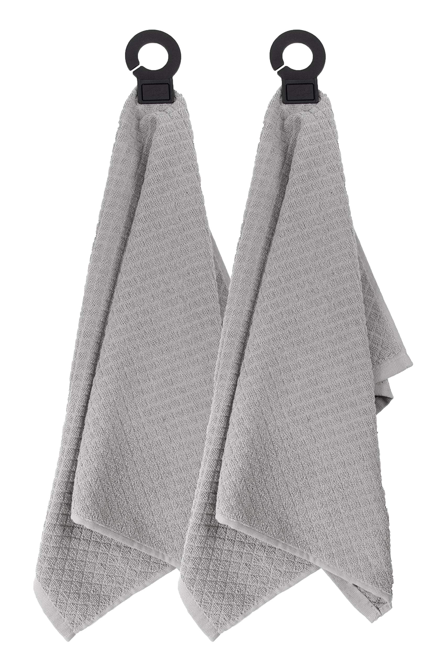 Ritz Hook and Hang Towel with Permanent Rubber Hook for Kitchen, Bathroom, Mudroom, Laundry Room, Extra-Large, 18'' X 28'', Machine Washable, 2 Pack, Titanium by Ritz