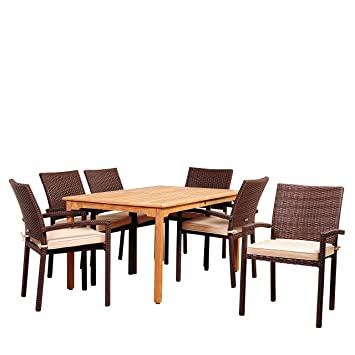 Amazonia Burlington 7 Piece Teak/Wicker Dining Set With Antique Beige  Sunbrella Cushions