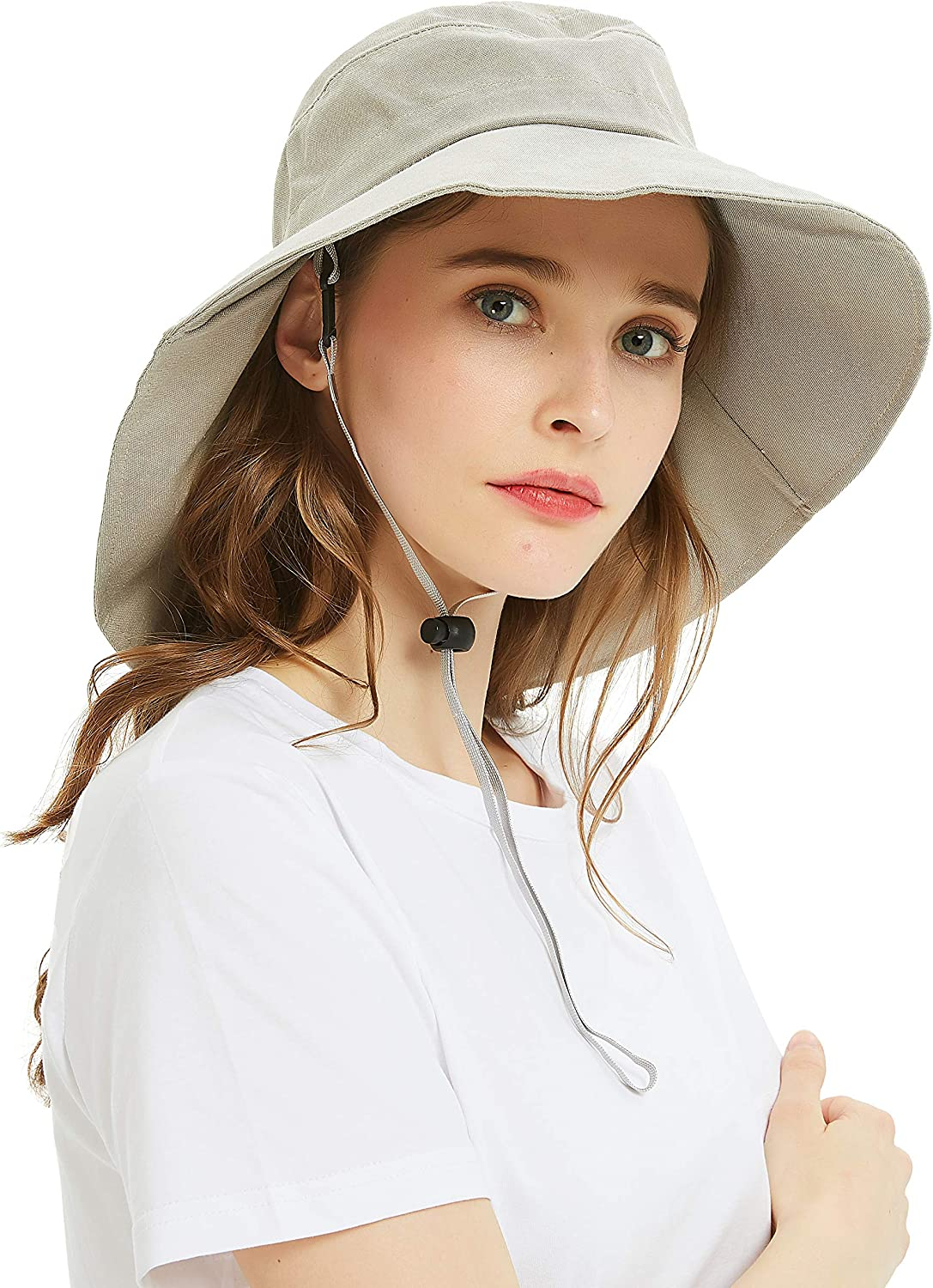 Headshion Fishing Hats for Women, Wide Brim UV Protection Sun Hats Foldable Boonie Bucket Hat with Neck Flap for Fishing Safari Hiking Beach Golf