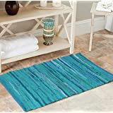 100% Cotton Rag Rug 3x5' Multicolor Chindi Rug - Hand Woven & Reversible for Living Room Kitchen Entryway Rug - Teal,Kitchen