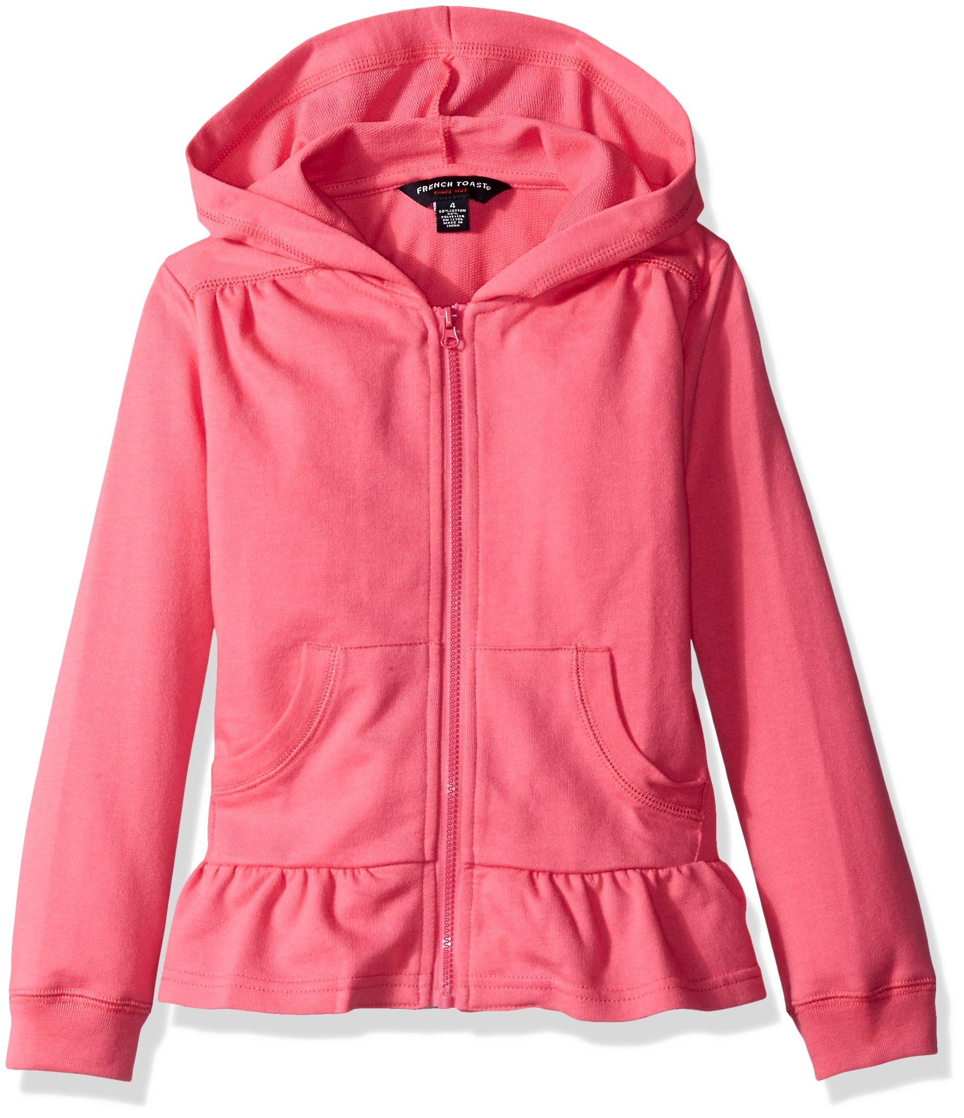 French Toast Girls' Big Ruffle Bottom Knit Jacket, Shocking Pink, XL (14/16)