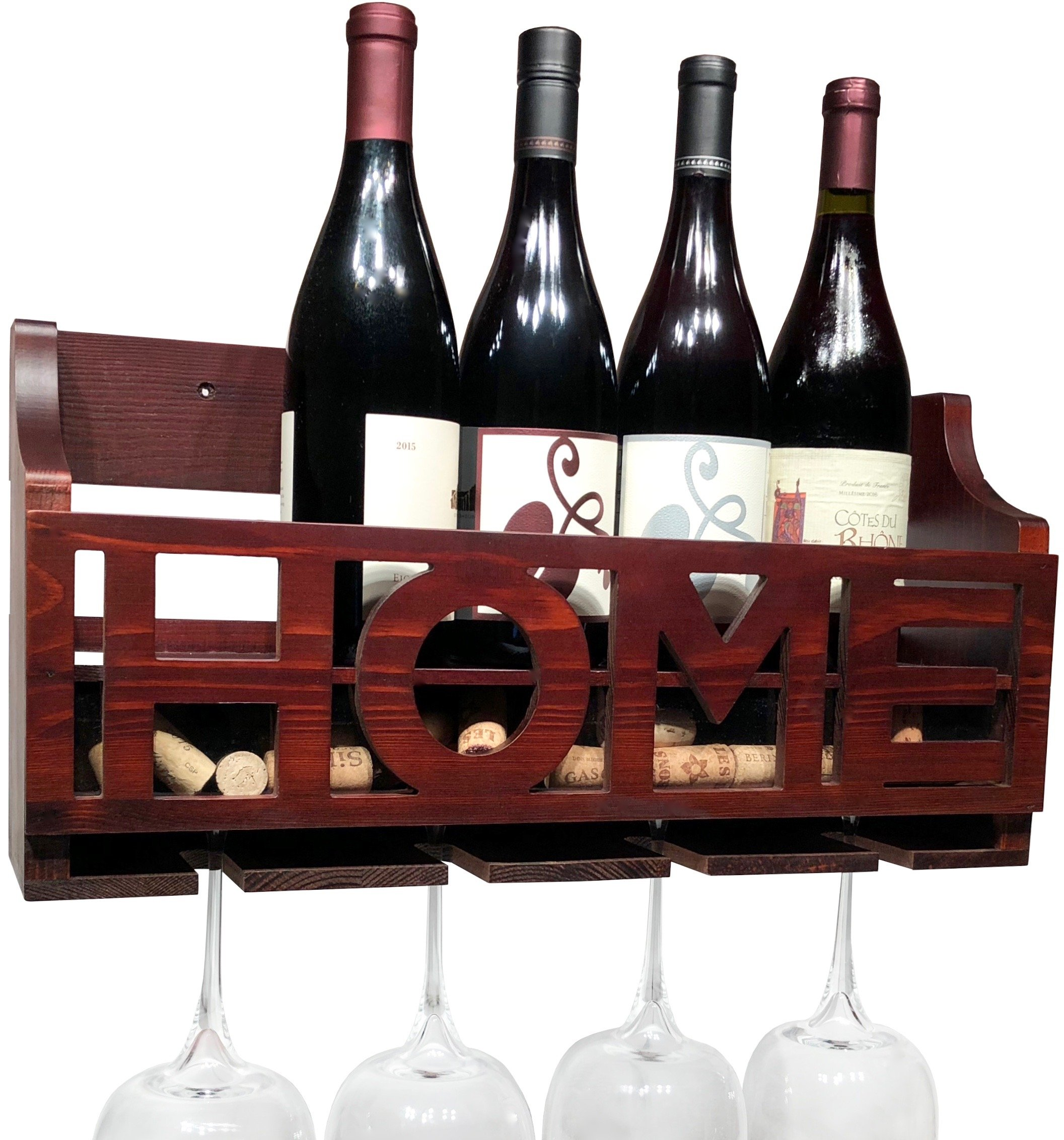 HOME wine rack wall mounted - Wooden Wall wine rack - Wine bottle holder Wine cork holder Wine Decor