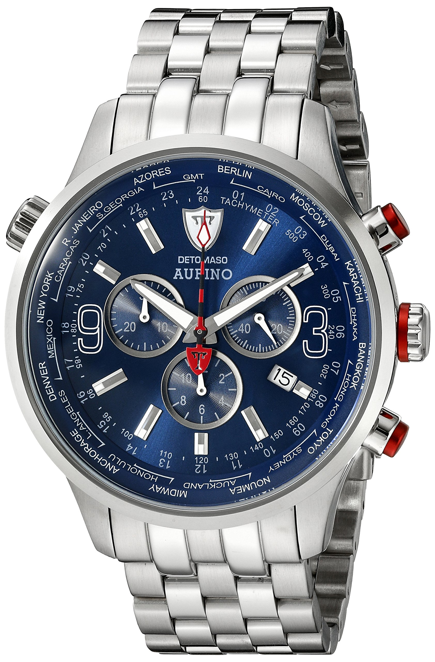 DETOMASO Men's DT1061-C AURINO XXL Chronograph Trend blau/silber Analog Display Swiss Quartz Silver Watch