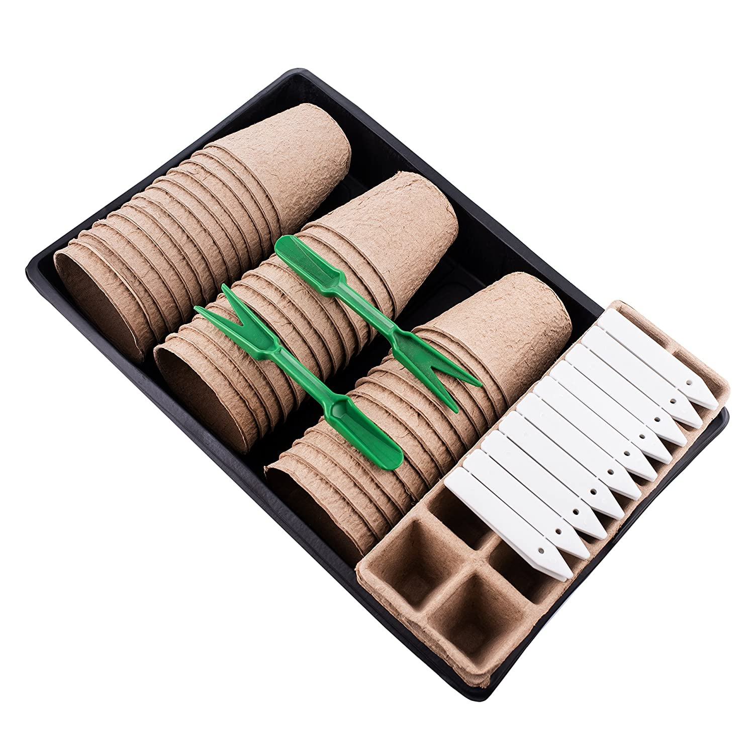 Plant Starter Kit | Everything You Need | Biodegradable Peat Pots, Peat Seed Starter Trays, PVC Plant Growing Trays, Gardening Tools & More! | Perfect Plant Cultivation Set for Gardeners or Classrooms