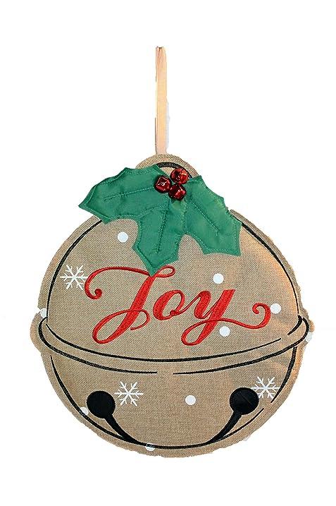 jingle bells door hanger joy holiday door decorations or christmas wall hanging large 18 - Burlap Christmas Door Decorations