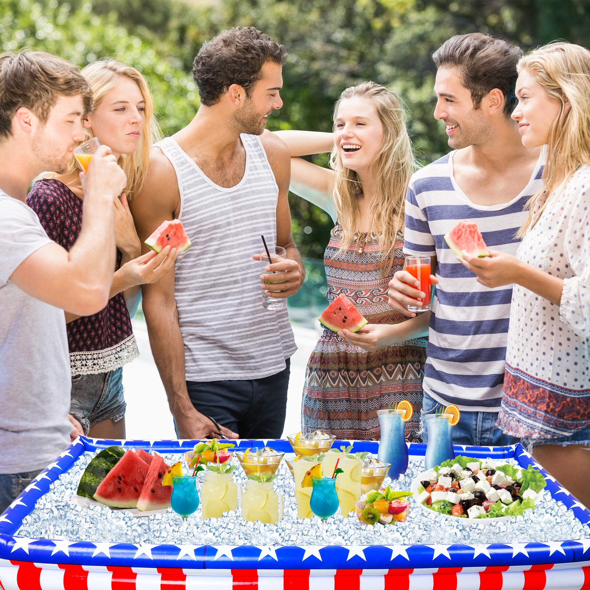 Outdoor Inflatable Buffet Cooler Server - Patriotic Red White and Blue Blow Up Cooling Tub for Serving Buffet Style Picnic - Pack of 2 by Big Mo's Toys (Image #3)