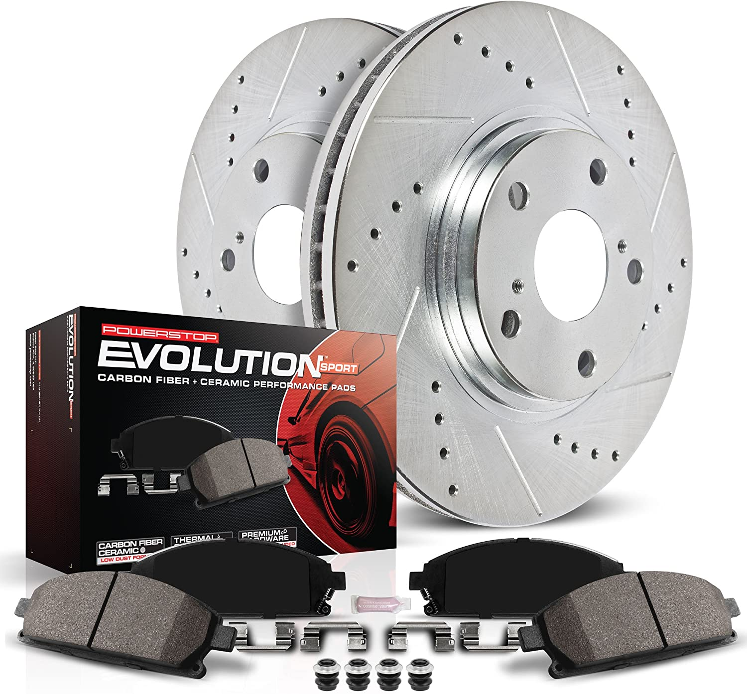 Power Stop K4713 Front Brake Kit with Drilled/Slotted Brake Rotors and Z23 Evolution Ceramic Brake Pads