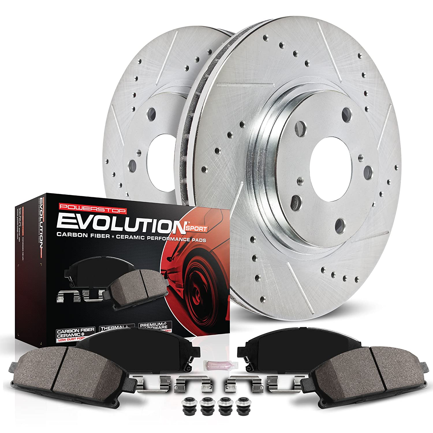 Power Stop K1379 Rear Brake Kit with Drilled//Slotted Brake Rotors and Z23 Evolution Ceramic Brake Pads