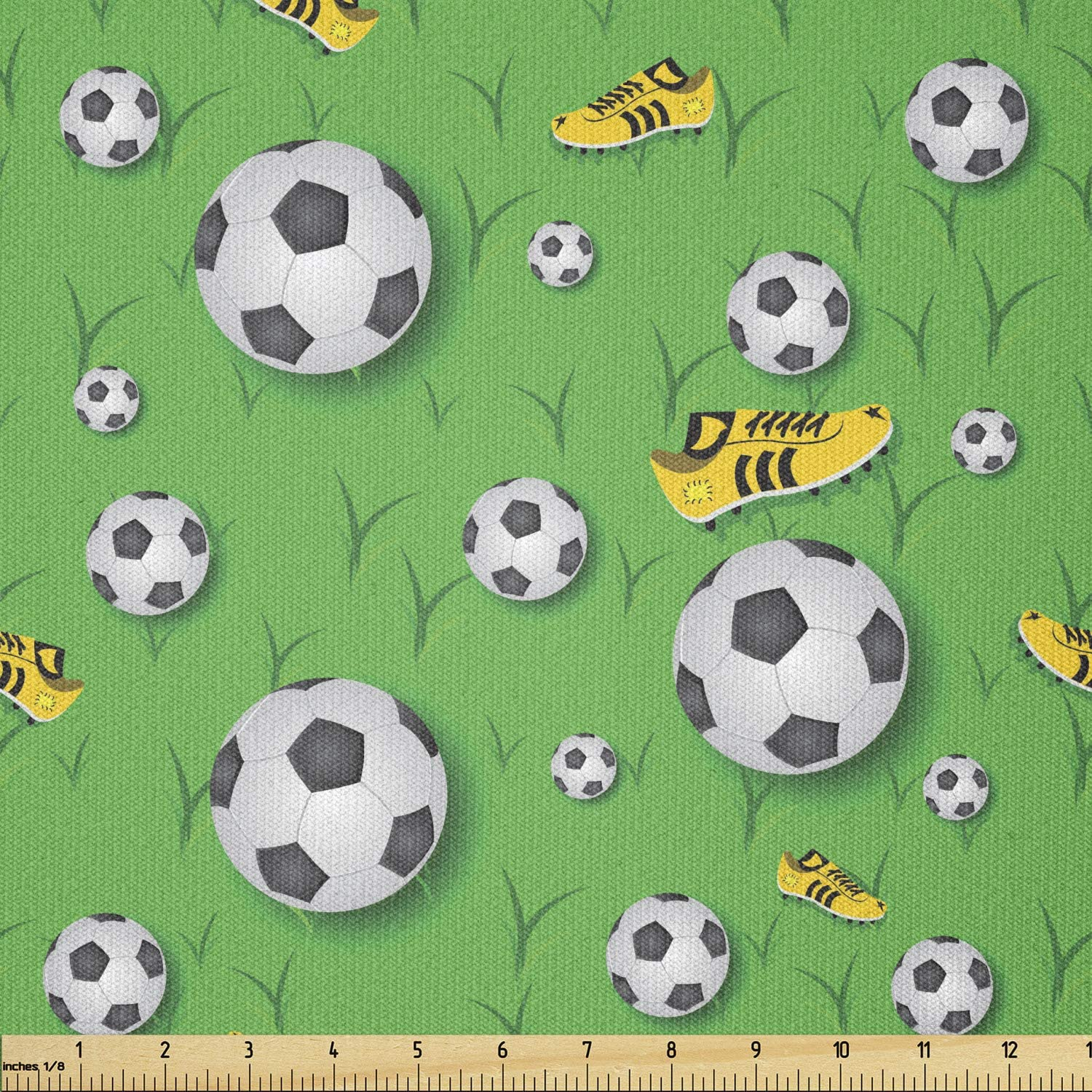 Ambesonne Soccer Fabric by The Yard, Professional Player Athletics Pattern Football Shoes Balls on Grass, Stretch Knit Fabric for Clothing Sewing and Arts Crafts, 1 Yard, Lime Green