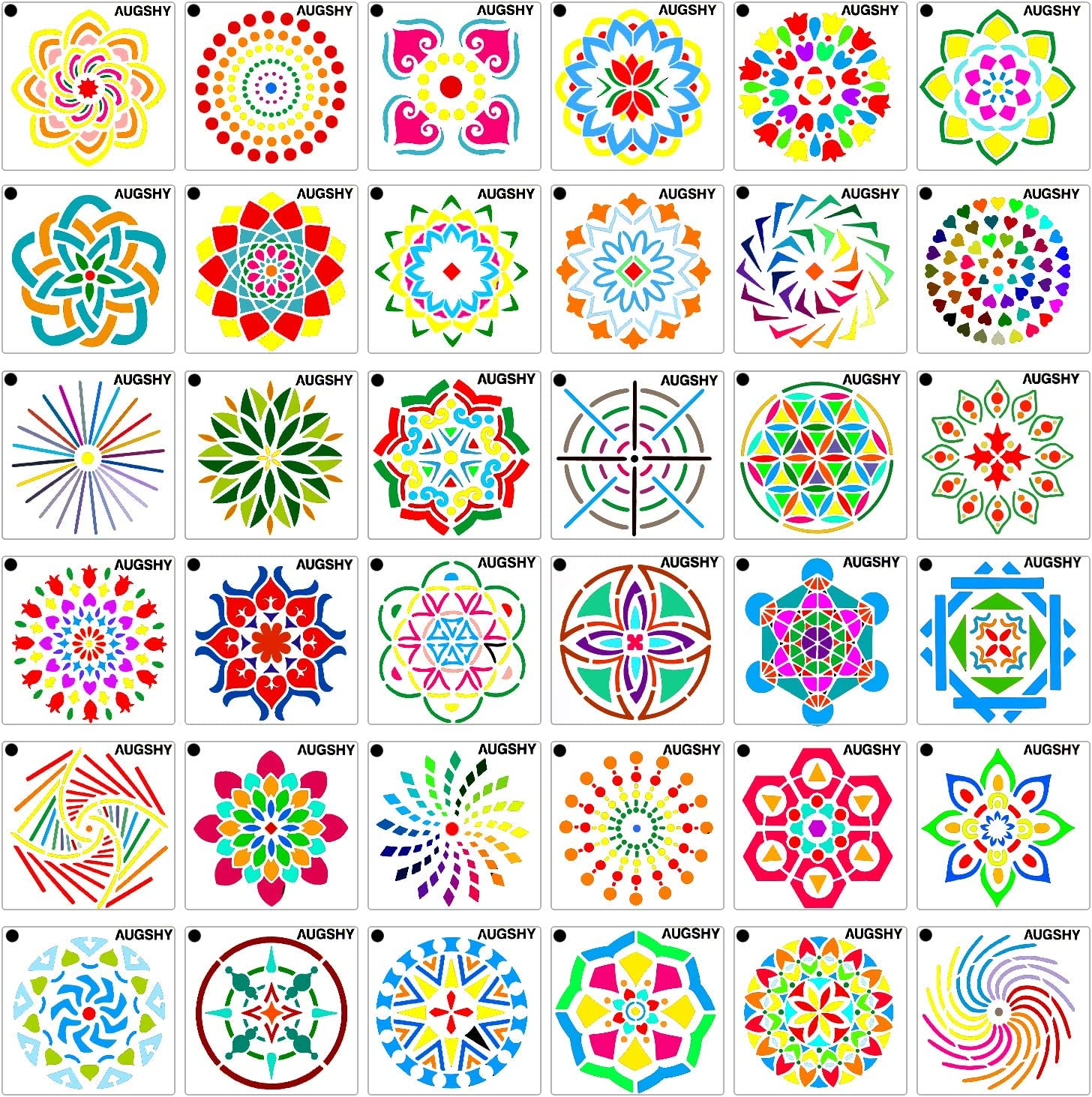 36 Pack Mandala Dot Painting Templates Stencils Perfect for DIY Rock Painting Art Projects (3.6x3.6 inch)