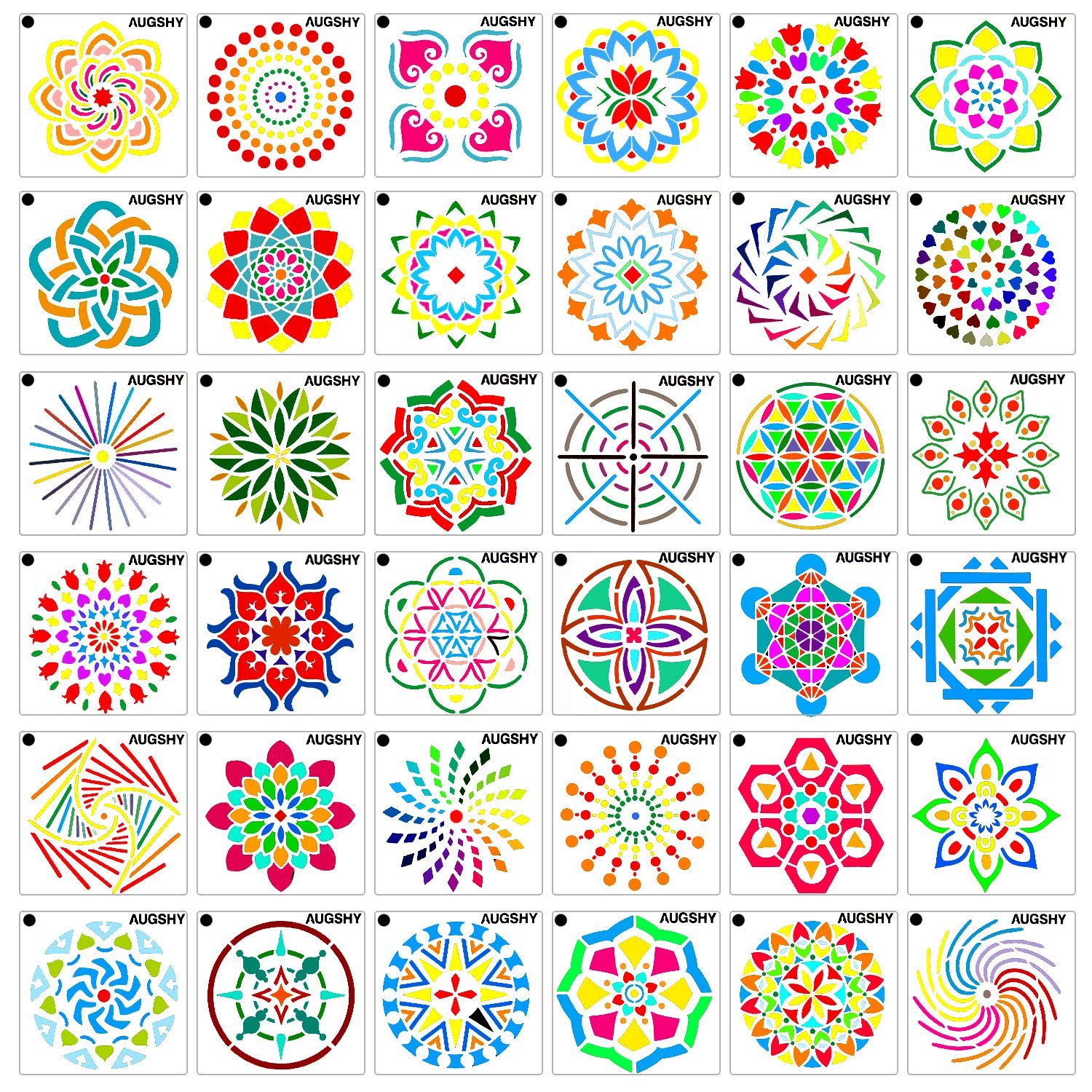 36 Pack Mandala Dot Painting Templates Stencils Perfect for DIY Rock Painting Art Projects (3.6x3.6 inch) by Augshy