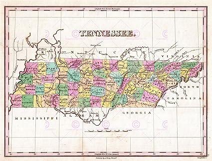 Amazon.com: Doppelganger33LTD MAP ANTIQUE 1827 FINLEY USA STATE ...
