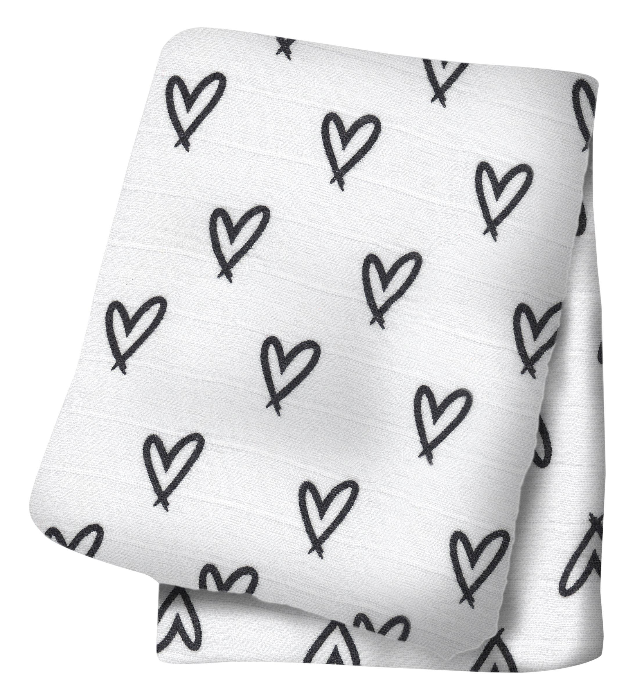 Lulujo Baby Bamboo Muslin Swaddling Blanket, Hearts product image